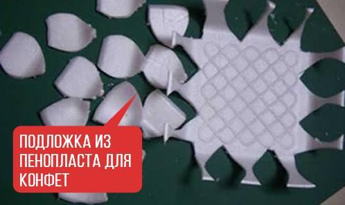 конфеты на пенопластовое подоложке