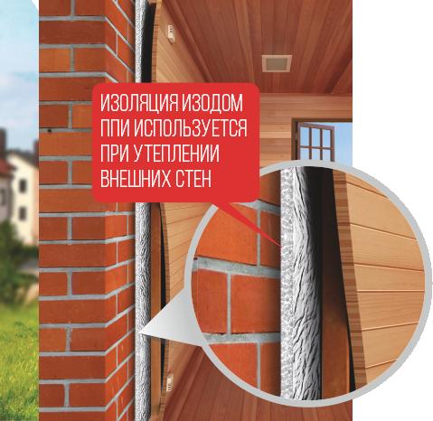 Изоляция Изодом ППИ используется при утеплении внешних стен