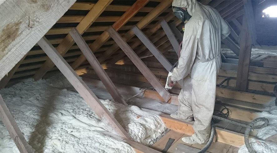 Утепление перекрытия чердачного по деревянным балкам. Пенополиуретан